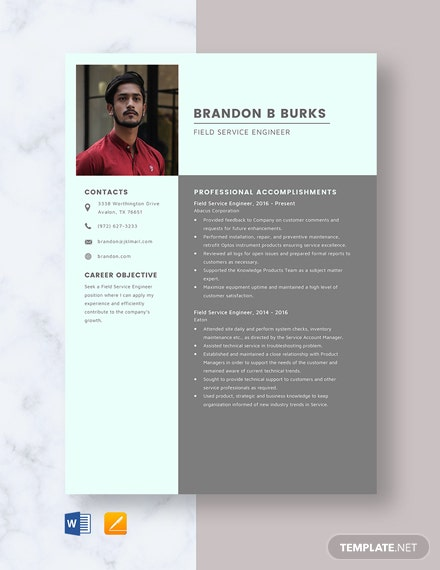 Field Service Engineer Resume Template