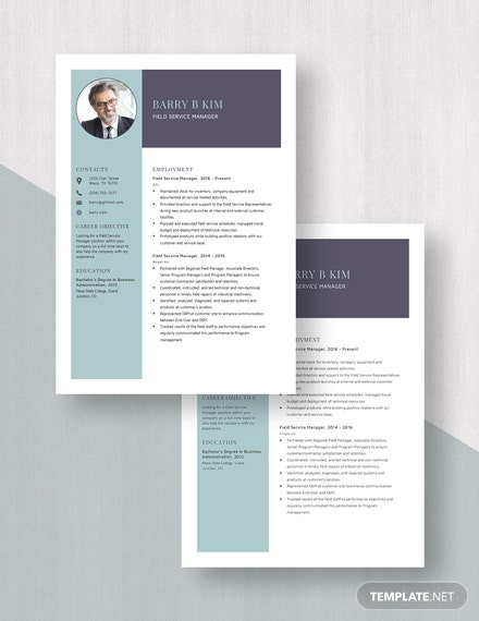 Field Service Manager Resume Template [Free Pages] - Word, Apple Pages
