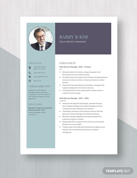 Field Service Manager Resume Template