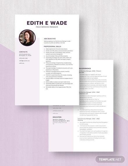 Field Services Manager Resume Download