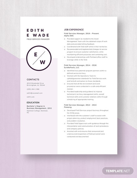 Field Services Manager Resume Template