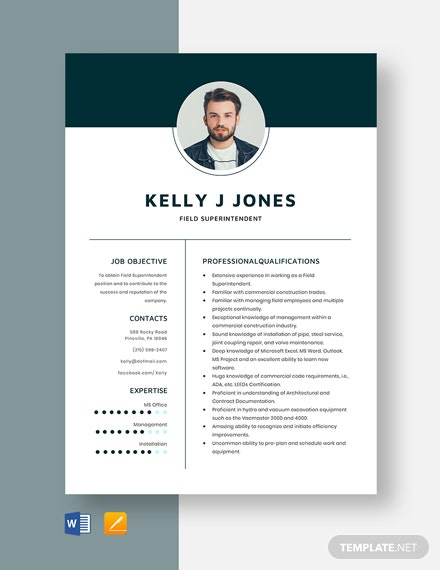 Field Superintendent Resume Template