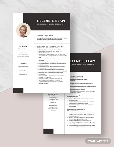Construction Account Manager Resume Template [Free PSD] - Word, Apple Pages