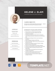 Construction Account Manager Resume Template