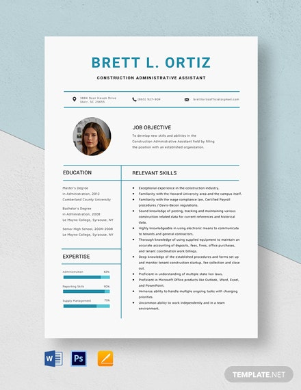 Construction Administrative Assistant Resume Template