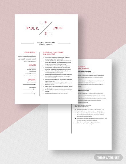 Construction Assistant Project Manager Resume Template [Free PSD] - Word, Apple Pages