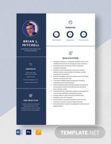 Construction Assistant Superintendent Resume Template