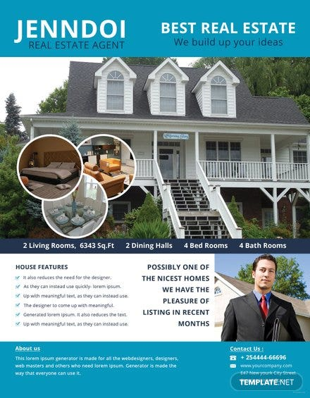 open house agent flyer template in adobe photoshop illustrator