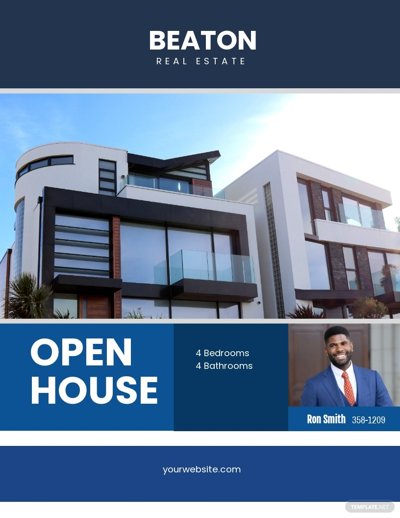 Open House Agent Flyer Template [Free JPG] - Illustrator, Word, Apple Pages, PSD, Publisher