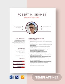 Construction Attorney Resume Template