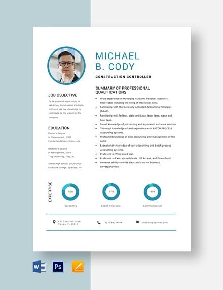 Construction Controller Resume Template