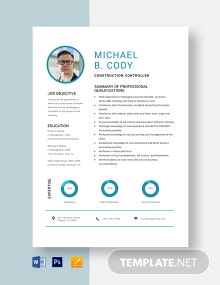 Construction Controller Resume Template