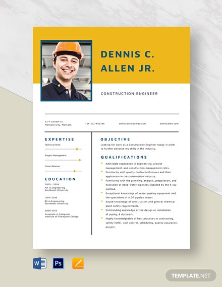 Construction Engineer Resume Template