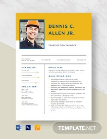 Construction Engineer Resume Template