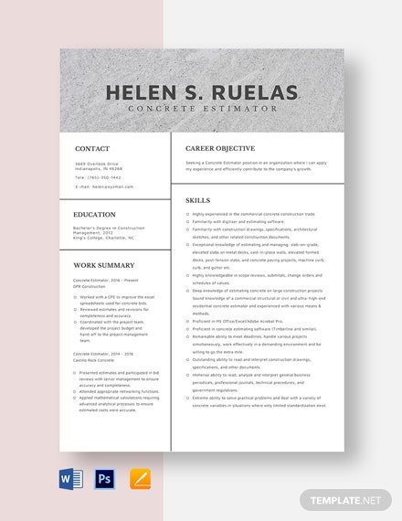 Concrete Estimator Resume Template
