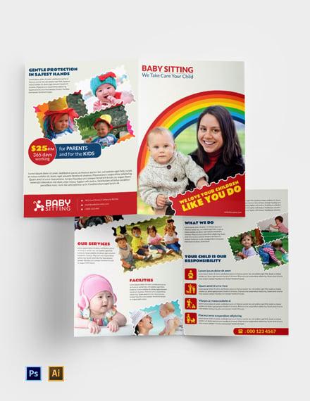 Free Babysitting Bi-fold Brochure Template