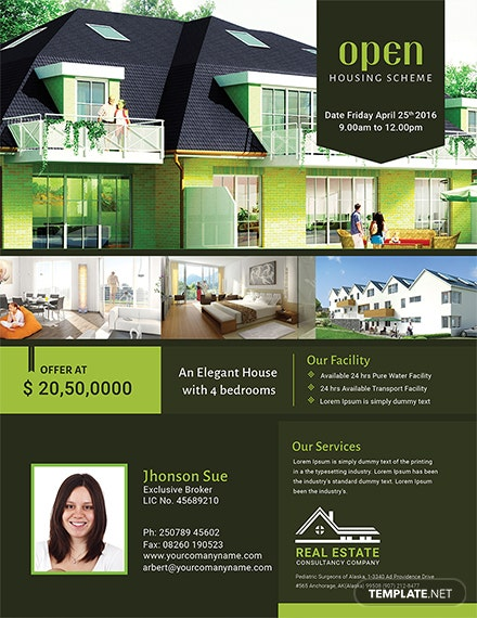 real estate open house flyer template 1x