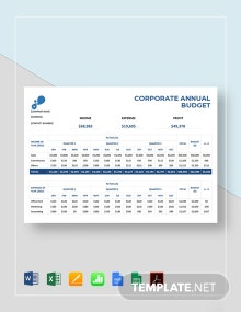 Corporate Annual Budget Template