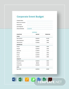Corporate Event Budget Template