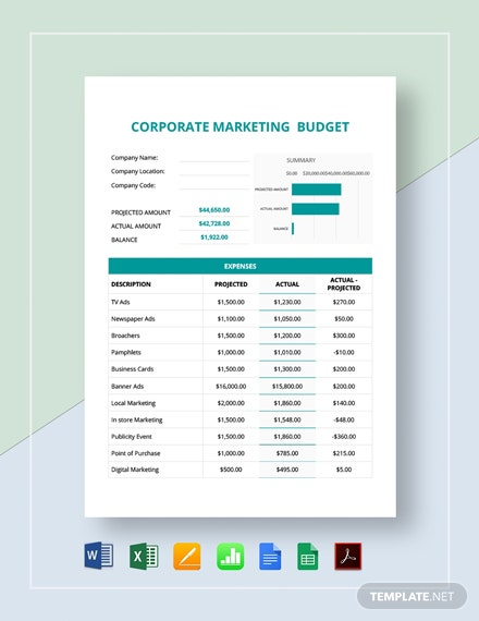 Corporate Marketing Budget Template