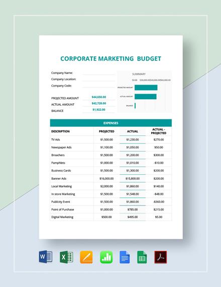 Corporate Marketing Budget Template