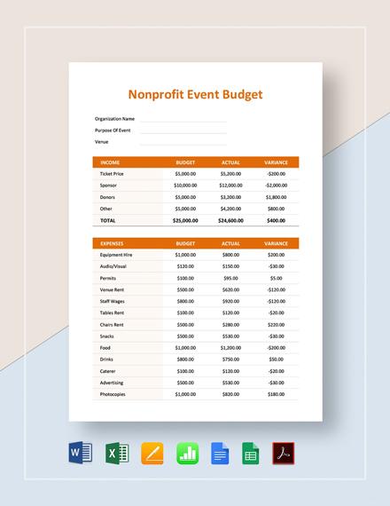 Nonprofit Event Budget Template