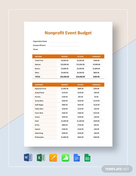 Nonprofit Event Budget Template