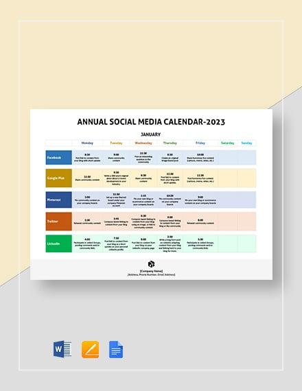 annual social media calendar 2