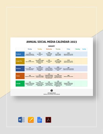 Annual Social Media Calendar Template