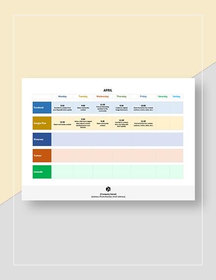 Sample Annual Social Media Calendar