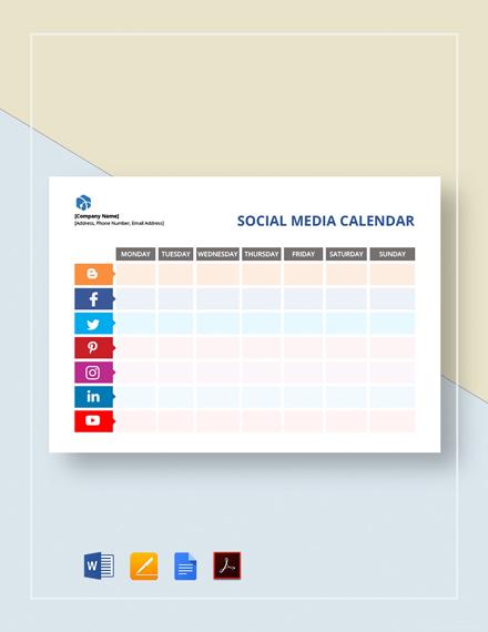 Blank Social Media Calendar Template