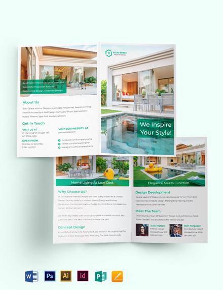 A3 Landscape Interior Design Bi-Fold Brochure Template