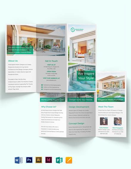 A3 Landscape Interior Design Tri-Fold Brochure Template