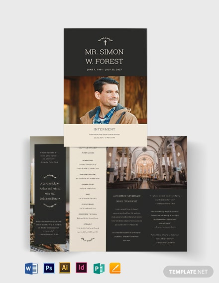 Blank Acknowledgment Funeral Bi-Fold Brochure Template