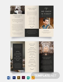 Blank Acknowledgment Funeral Tri-Fold Brochure Template