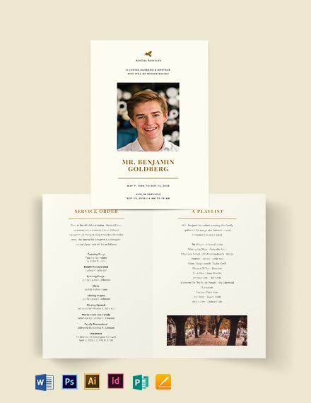 Blank Eulogy Funeral Bi-Fold Brochure Template
