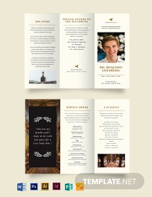Blank Eulogy Funeral Tri-Fold Brochure Template