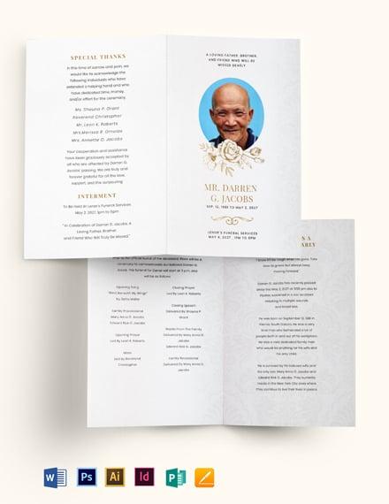 Blank Funeral Obituary Bi-Fold Brochure Template