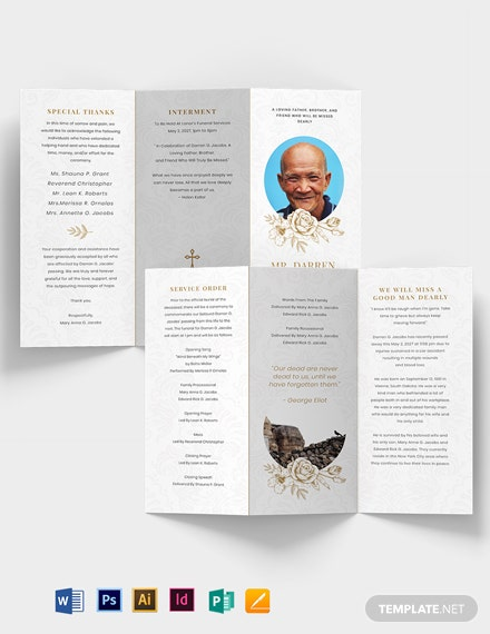Blank Funeral Obituary Tri-Fold Brochure Template