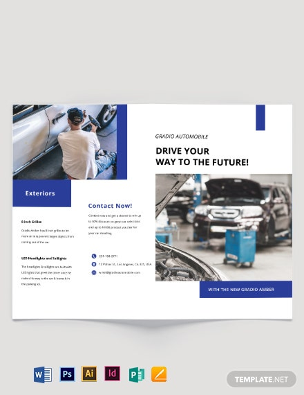 Car Detailing Bi-Fold Brochure Template
