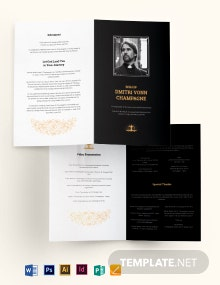 Catholic Funeral Memorial Bi-Fold Brochure Template