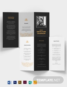 Catholic Funeral Memorial Tri-Fold Brochure Template