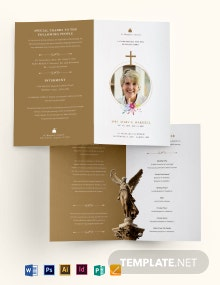 Catholic Funeral Obituary Bi-Fold Brochure Template