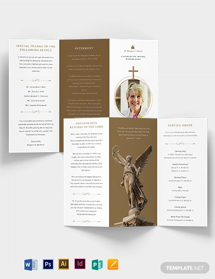 Catholic Funeral Obituary Tri-Fold Brochure Template