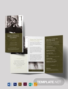 Catholic Funeral Program Tri-Fold Brochure Template