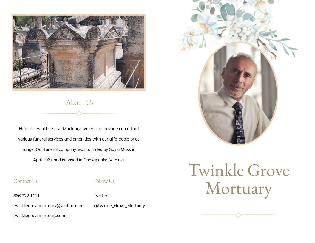 Celebration Of Life Funeral Memorial Bi Fold Brochure Template.jpe