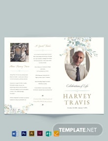 Celebration Of Life Funeral Memorial Bi-Fold Brochure Template
