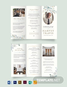Celebration Of Life Funeral Memorial Tri-Fold Brochure Template