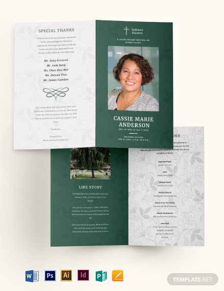 Celebration of Life Funeral Obituary Bi-Fold Brochure Template