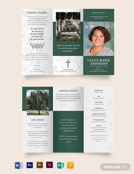 Celebration Of Life Funeral Obituary Tri-Fold Brochure Template